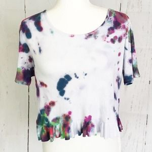 Sage The Label Cropped Tie Dye Peplum Top